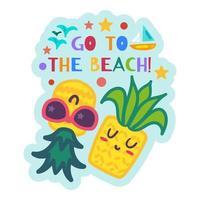 etiqueta de verão praia, adesivo de abacaxi de desenho animado vetor