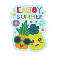 Aproveite o verão distintivo de abacaxis engraçados em óculos de sol vetor
