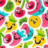 frutas emoji adesivos padrão de vetor sem costura