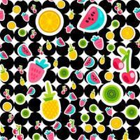 padrão de vetor sem costura de cores de frutas de verão