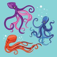 Coleção de ilustração de polvo com tentáculos vetor