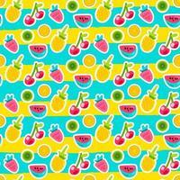 doodle frutas padrão vetorial sem emenda vetor