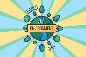 fundo ou cartão do dia do meio ambiente mundial vetor