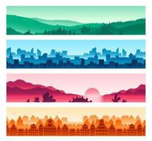 Conjunto de silhuetas de paisagens urbanas e rurais vetor