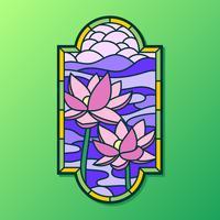 Vetor de janela de vitral de lótus
