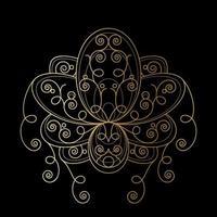 flor de lótus com ilustração linear geométrica de ornamento abstrato dourado vetor