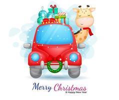 girafa fofa dirigindo um carro vermelho com presentes vetor
