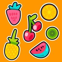 conjunto de adesivos de cores de doodle de frutas vetor