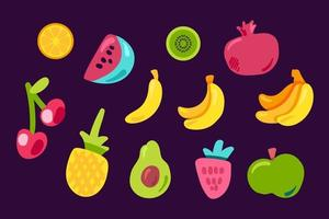 conjunto de vetores plana de frutas tropicais