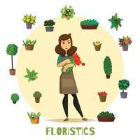 ilustração vetorial conjunto de conceitos de floristas vetor