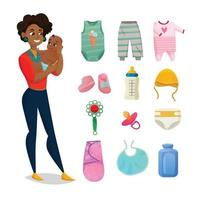 conjunto de roupas infantis ilustração vetorial vetor