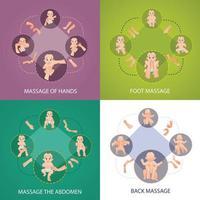 conjunto de ícones de conceito de massagem para bebês vetor