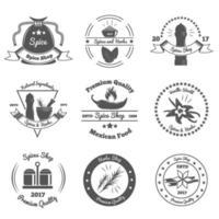 ilustração em vetor emblemas monocromáticos de especiarias e ervas