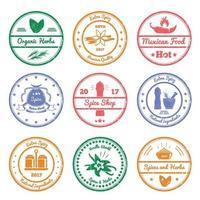 ilustração em vetor selos de especiarias e ervas