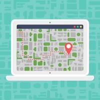 mapa offline eletrônico no laptop vetor