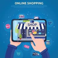 ilustração em vetor cartaz de compras online