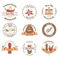 ilustração em vetor emblemas coloridos especiarias e ervas
