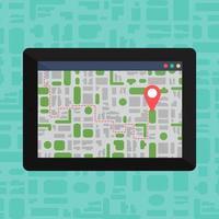 mapa offline eletrônico no tablet, dispositivo móvel vetor