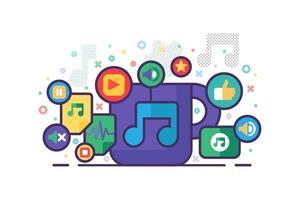 banner multimídia de música com placas coloridas de apps vetor
