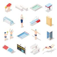 ilustração em vetor esportes piscina ícones isométricos