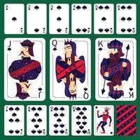 jogo de cartas de pôquer espadas conjunto ilustração vetorial vetor