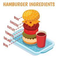 ilustração vetorial de composição isométrica de ingredientes de hambúrguer vetor