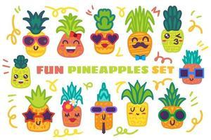 Conjunto de adesivos engraçados de abacaxi desenhados à mão vetor