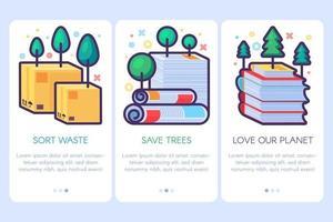 Conjunto de cartazes de reciclagem de resíduos de papel. modelos de folhetos vetor