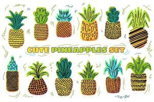 conjunto de ilustrações desenhadas à mão de vetor de abacaxis