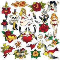 ícones da velha escola de tatuagem definir ilustração vetorial vetor