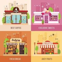 Ilustração em vetor conceito design 2x2 lojas fachadas