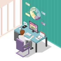 ilustração em vetor fundo isométrico de comércio on-line