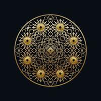 ilustração em vetor linear mandala geométrica em tinta dourada