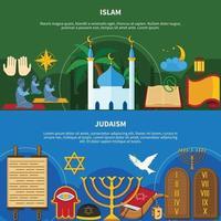 conjunto de panfleto de religiões vetor