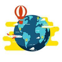 Ilustração em vetor globo viagens