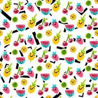 frutas emoji cor padrão sem emenda de vetor