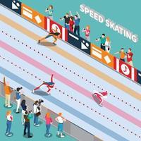 ilustração em vetor composição isométrica pista de patinação