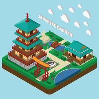 ilustração em vetor composição isométrica torre japonesa