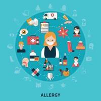 conceito de alergia plana vetor