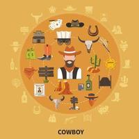 composição redonda de cowboy vetor