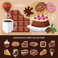 ilustração em vetor coleção ícones lisos de chocolate