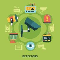ilustração vetorial de composição redonda de detectores de segurança doméstica vetor