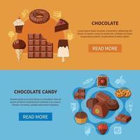 ilustração vetorial de banners planas de produtos de chocolate vetor