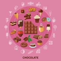 ilustração em vetor composição redonda de chocolate