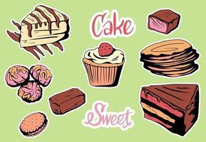 conjunto de deliciosas fatias coloridas de bolos vetor