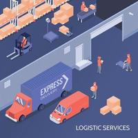 ilustração vetorial isométrica de serviços logísticos vetor