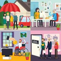 ilustração em vetor conceito projeto ortogonal de seguridade social