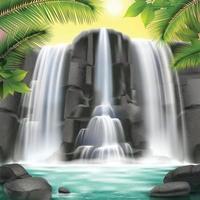ilustração vetorial realista de fundo de cachoeira vetor