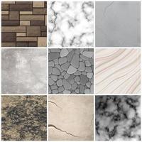 ilustração em vetor coleção padrões de textura de pedra realista