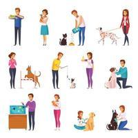 ilustração vetorial conjunto de desenho de pessoas com animais de estimação vetor